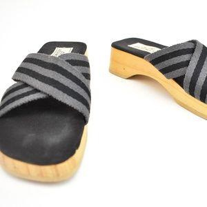 HERMES: Black/Gray Striped, Sandals/Slides